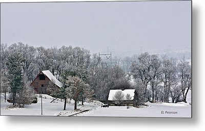 Winter On The Farm Metal Print by Edward Peterson
