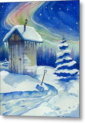 Winter Outhouse Metal Print by Peggy Wilson