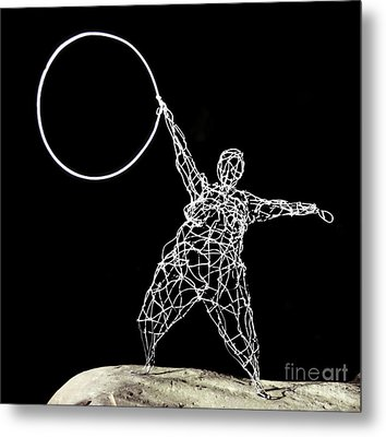 Wire Lady Holding Hoop Metal Print by Tommy  Urbans