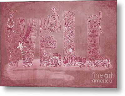 Metal Print featuring the digital art Wishing Well Breast Cancer Tribute by Laura Brightwood