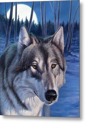 Wolf In Moonlight Metal Print