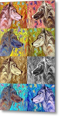 Metal Print featuring the digital art Wolf Views by Mary Schiros
