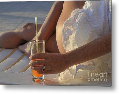 Woman Holding Cocktail Glass While Sunbathing Metal Print by Sami Sarkis