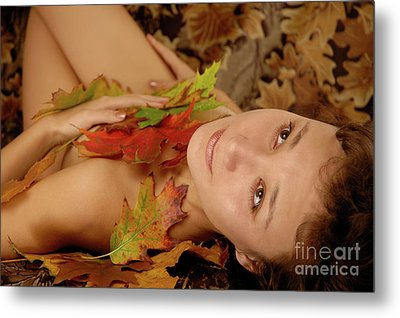 Woman In Fallen Leaves Metal Print by Oleksiy Maksymenko