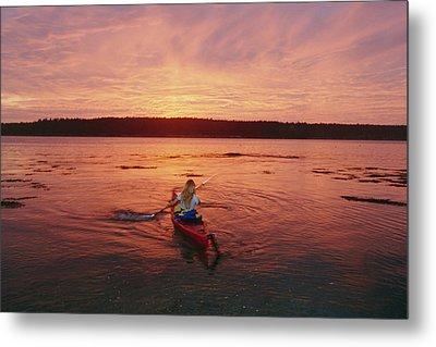 Woman Kayaking At Dusk, Penobscot Bay Metal Print by Skip Brown