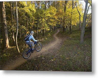 Woman Mountain Biker Rides Singletrack Metal Print by Skip Brown