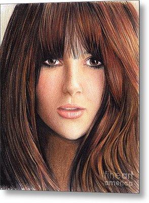 Woman With Brown Hair Metal Print by Muna Abdurrahman
