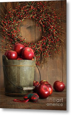Wood Bucket Of Apples For The Holidays Metal Print by Sandra Cunningham