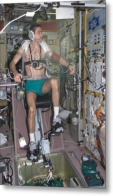 Working Out In Space. Cosmonaut Yuri Metal Print by Everett