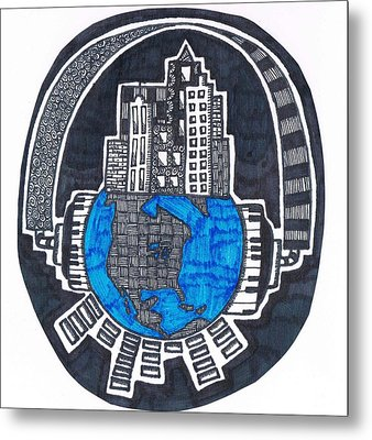 World Headphones Zendoodle Metal Print by Tiffanie Dye