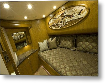 Yacht Woodwork Metal Print by Carey Chen