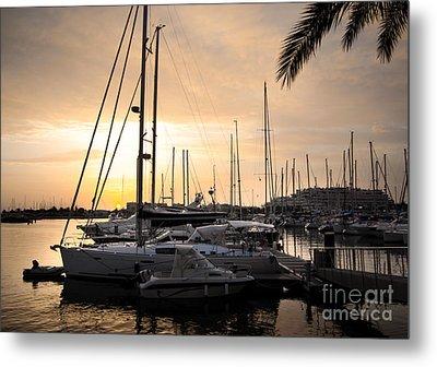 Yachts At Sunset Metal Print by Carlos Caetano
