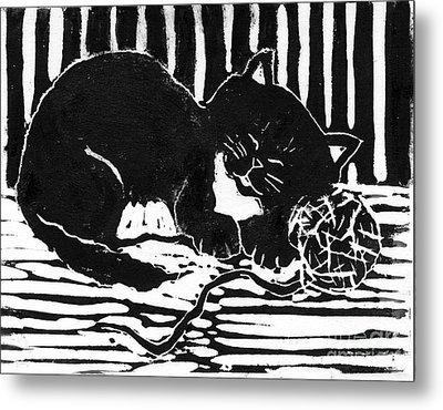 Yarn Cat  Block Print Metal Print