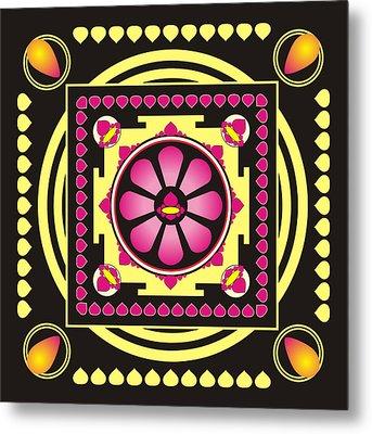 Yellow And Pink Mandala Metal Print by Steeve Dubois