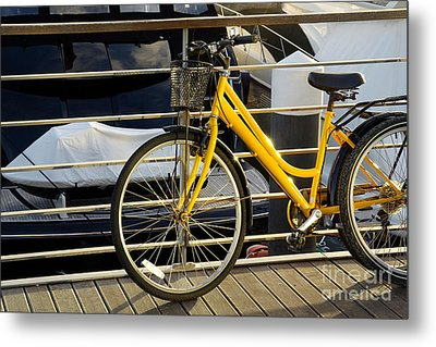 Yellow Bicycle Metal Print by Carlos Caetano