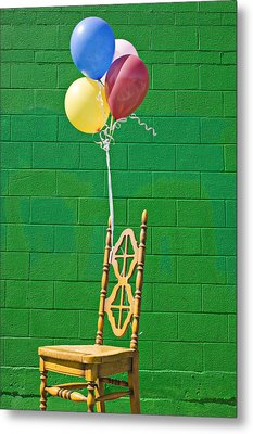 Yellow Cahir With Balloons Metal Print by Garry Gay