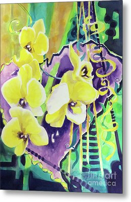 Yellow Orchids Of The Heart Metal Print by Kathy Braud