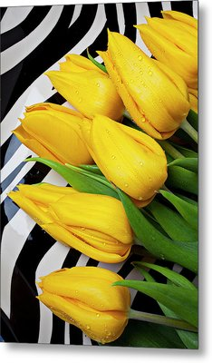 Yellow Tulips On Striped Plate Metal Print by Garry Gay