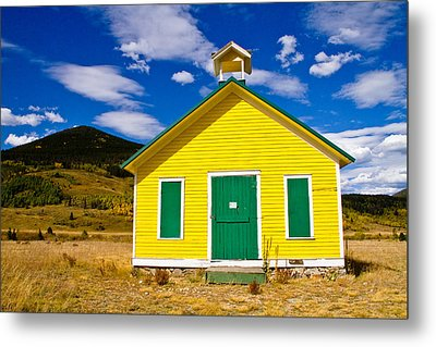 Yellow Western School House Metal Print by James BO  Insogna