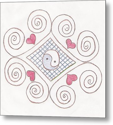 Yin Yang Swirls Pastel Metal Print by Jeannie Atwater Jordan Allen