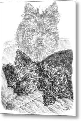 Metal Print featuring the drawing Yorkie - Yorkshire Terrier Dog Print by Kelli Swan