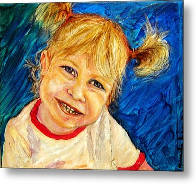 Metal Print featuring the pastel Young Girl 2 by Amanda Dinan