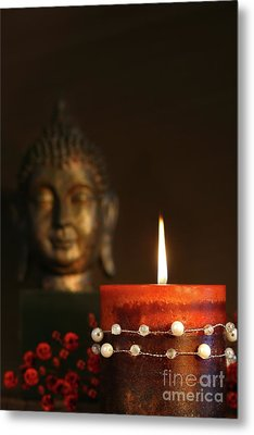 Zen Candle And Buddha Statue Metal Print by Sandra Cunningham