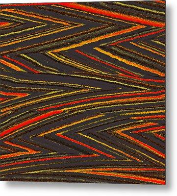 Zig Zag Collection Grey Vs Orange Metal Print by James Mancini Heath