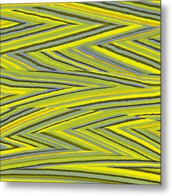 Zig Zag Collection Grey Vs Yellow Metal Print by James Mancini Heath