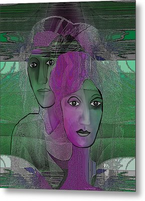 300 - Couple Purple - Green Metal Print by Irmgard Schoendorf Welch