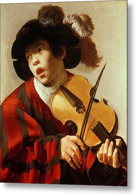 Boy Playing Stringed Instrument And Singing Metal Print by Hendrick Ter Brugghen