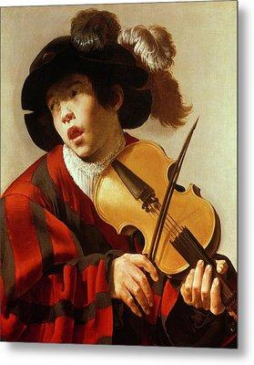 Boy Playing Stringed Instrument And Singing Metal Print