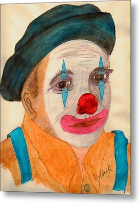 Clown Looking In A Mirror Metal Print by Thomas J Norbeck