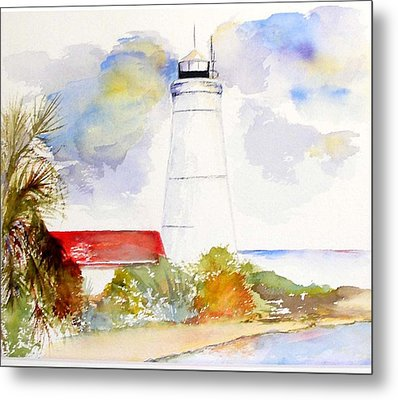 Metal Print featuring the painting  Impression St Marks Lighthouse by Sibby S