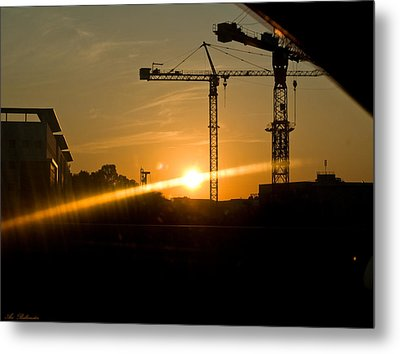 Metal Print featuring the photograph  Industrial Sunrise by Arik Baltinester