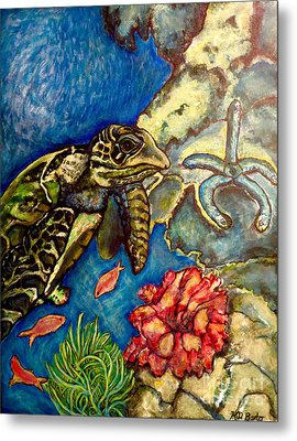 Metal Print featuring the painting  Sweet Mystery Of The Sea A Hawksbill Sea Turtle Coasting In The Coral Reefs Original by Kimberlee Baxter