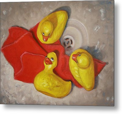 Three Rubber Ducks  #1 Metal Print by Donelli  DiMaria