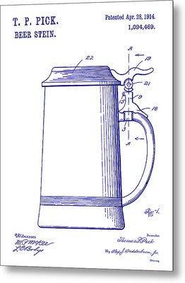 1914 Beer Stein Patent Blueprint Metal Print