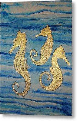 24 Karat Seahorses Metal Print by Erika Swartzkopf