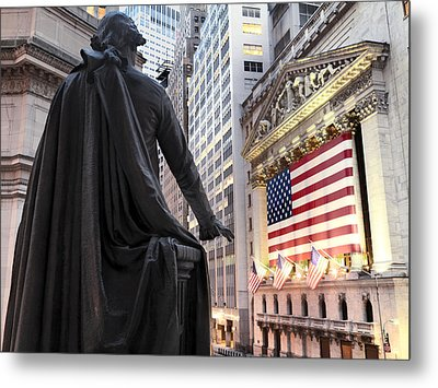 A Bronze Statue Of George Washington Metal Print by Justin Guariglia