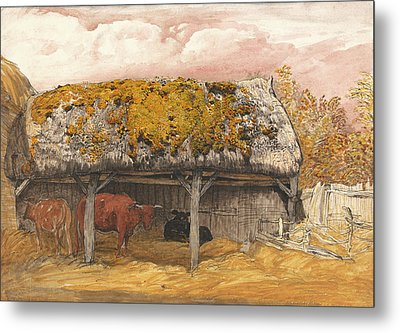 A Cow Lodge With A Mossy Roof Metal Print by Samuel Palmer