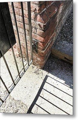 A Gate With Shadows Metal Print by Tom Gowanlock