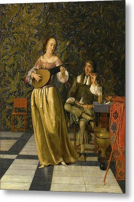A Lady Playing A Lute With A Gentleman Metal Print by MotionAge Designs