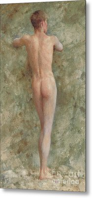 A Standing Male Nude Metal Print by Henry Scott Tuke