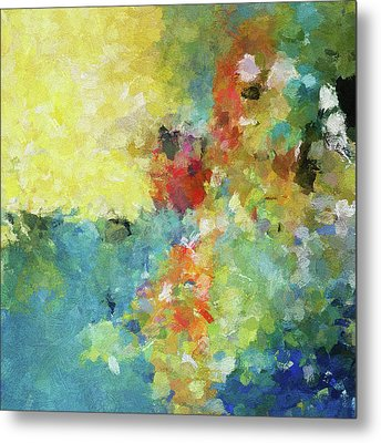 Abstract Seascape Painting Metal Print by Ayse Deniz