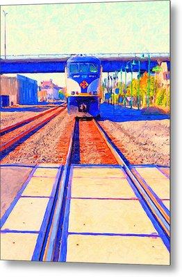 Amtrak Train . Photo Art Metal Print by Wingsdomain Art and Photography