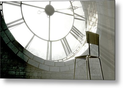 Antique Backlit Clock And Empty Chair Metal Print by Allan Swart