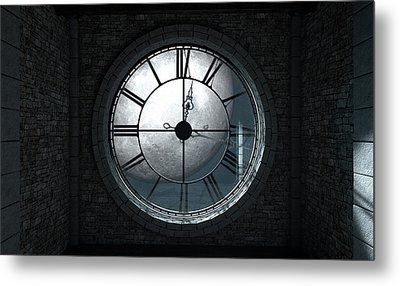 Antique Backlit Clock And Moon Metal Print by Allan Swart