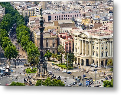 Barcelona With Tree-lined Las Ramblas Metal Print by Annie Griffiths