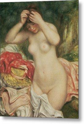 Bather Arranging Her Hair Metal Print by Pierre Auguste Renoir